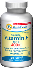 Natural Dry Vitamin E-400 IU Kosher  <p><b>Per Your Request – A Dry Vitamin E</b></p><p>Puritan's Pride customers have asked for a Kosher version of Vitamin E – and here it is!</p><p>Dry Vitamin E is water-dispersible, not oil-based</p><p>Suitable for Vegetarians</p><p>Same great benefits of regular Vitamin E including support for healthy heart function and powerful antioxidant action**</p> 100 Capsules 400 IU $39.99