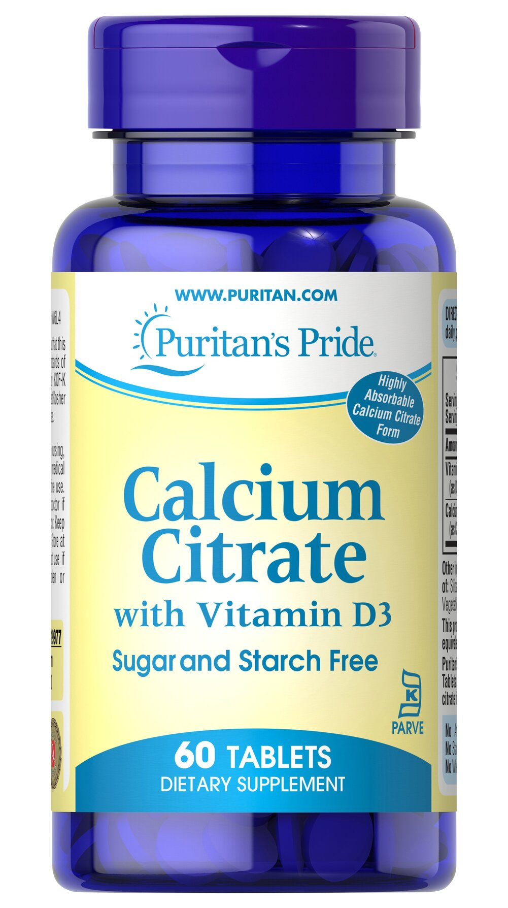 Calcium Citrate with Vitamin D Kosher  60 Tablets 1000 mg/600 IU $12.49