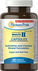 Multi II Capsules <p>A Well-Balanced multivitamins that provides a full day's supply of 12 essential nutrients.  Includes Amino Acids to help build protein, promote cell growth, and provide fuel for energy.** Free of yeast, wheat, gluten and dairy products, as well as sugar and salt. No artificial colors, flavors or preservatives. Does contain Soy.</p> 60 Capsules  $24.99