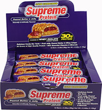 Whey Isolate Peanut Butter & Jelly 30 gram Bars <br />Now you can have it all with Supreme Protein®.  The world's first quadruple layer protein bar combines real candy bar flavor and the unsurpassed amino-rich power of high-quality whey isolate.  Try this nutritional masterpiece for yourself and you'll agree-superior nutrition never tasted so good! 12 Bars 30 gram $32.99
