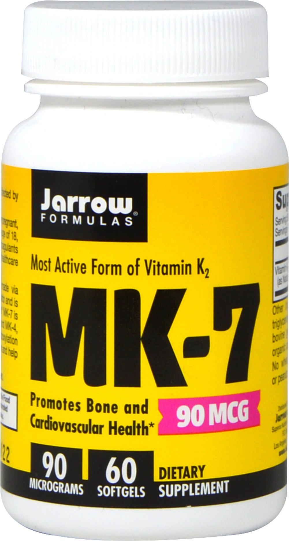 MK-7 Vitamin K2 90 mcg <p><strong>From the Manufacturer's Label:</strong></p><p>MK-7 is made via fermentation by Bacillus subtilus natto.  MK-7 (Menaquinone-7) is an enhanced bioactive form of vitamin K2 from Natto that is ten times better absorbed than K1 from spinach. MK-7 is responsible for the carboxylation of specific bone proteins needed for building bone.**Also, MK-7 promotes cardiovascular health by helping to maintain arterial elasticity.**</p>&lt