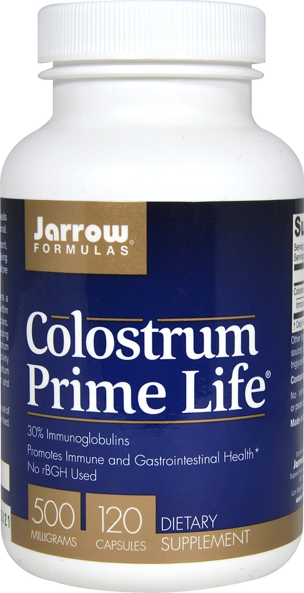 Colostrum Prime Life® 500 mg <p><strong>From the Manufacturer's Label:</strong></p><p>Jarrow Formulas® Colostrum Prime Life® contains a minimum of 35% immunoglobulins, double the strength of typical colostrum products, because it comes from the first milking.</p><p><strong>Colostrum Prime Life® Colostrum </strong>is collected within 12 hours of calving from American, pasture-fed cows. The colostrum undergoes low-temper