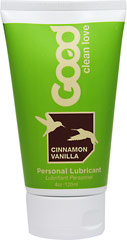 Cinnamon Vanilla Personal Lubricant <P><B>From the Manufacturer's label</B></P><P><P><B>Make Love Organic</B></P><P>Cinnamon Vanilla Personal Lubricant is made by Good Clean Love</P><P>95% Organic Ingredients</P><P>No Petrochemicals, No Parabens, No Glycerin</P><P>Naturally Moist, Sensuously Smooth, Long Lasting</P><P>Cruelty Free, 100% Vegan</P><P>Safe with Latex & Toy