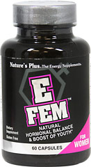 E Fem™ <P><B>From the Manufacturer's label</B></P><P>E Fem Capsules is manufactured by Natural Organics Laboratories, Inc. makers of Nature's Plus</P>  60 Capsules  $27.99