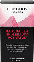 Hair, Nails & Skin Beauty Activator <p><strong>From the Manufacturer's Label:</strong></p><p>Contains a rich source of silica, combined with supportive nutrients.  Formulated by women for women.  </p><p>Distributed by and manufactured for FEMBODY, LLC</p> 60 Tablets  $18.99