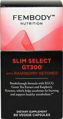 Slim Select GT300™ with Raspberry Ketones <p><strong>From the Manufacturer's Label:</strong></p><p>Breakthrough formula with EGCG Green Tea Extract and Raspberry Ketones.  </p><p>Distributed by and manufactured for FEMBODY, LLC</p> 60 Capsules  $18.71