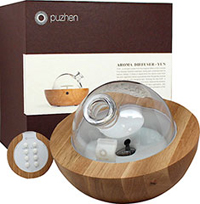 Five-Sense® Yun Natural Wood Aroma Diffuser <p>This top of the line, professional, ultrasonic essential oil aromatherapy diffuser purifies the air, creating a relaxing and refreshing environment. Its handcrafted natural wood base and hand-blown glass top, is truly a work of art and will be a complement to your home's décor. </p><p>It also plays built-in soothing Chinese music;  Soft LED colors add to the calming effect and help create a environment of peace. Its uniqu