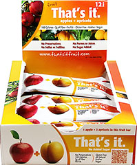 That's It Apple + Apricot Bar <strong></strong><p><strong>From the Manufacturer:</strong></p><strong></strong><p>100 calorie snack! Just apples and apricots. Seriously, That's It!<br /></p> 12 per Box  $17.99