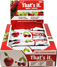 That's It Apple + Cherry Bar <strong></strong><p><strong>From the Manufacturer:</strong></p><strong></strong><p><strong></strong></p><p>100 calorie snack! Just Apples & Cherries.  Seriously. That's It.</p> 12 per Box  $14.99