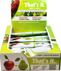 That's It. Natural Apple + Pear Bar <b><p>From the Manufacturer:</b></p> <b><p>The Ultimate Fiber Source!</b></p> <p>100 calorie snack! </p> <p>Pears are also high in Vitamin C and B-complex Vitamins, which are great for immunity and energy.</p> <p>Ingredients:  Apples & Pears. Seriously. That's It.</p> 12 per Box  $14.99