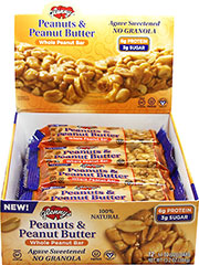 Peanuts & Peanut Butter Bars <strong></strong><p><strong>From the Manufacturer:</strong></p><p>Now you can enjoy a sweet creamy & crunchy peanut and peanut butter treat that's really good for you. Our proprietary blend of fresh roasted peanuts and creamy peanut butter sweetened with agave nectar will satiate both your taste buds and nutritional needs in a wholesome way.<br /></p> 12 per Box