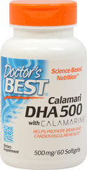 Best DHA 500 from Calamari <b><p>From the Manufacturer: </b></p> <p>Best DHA 500 from Calamari from Doctor's Best is produced in Norway and delivers 500 mg of the omega-3 essential fatty acid DHA with each serving. **</p> <p>DHA is the universal enhancer of cell, tissue and organ functions. **</p>  60 Softgels 500 mg $16.99