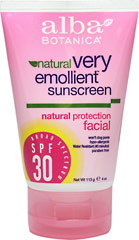 Natural Very Emollient Sunscreen Facial SPF 30 <p><strong>From Manufacturer's Label:</strong></p><p>- Natural Protection</p><p>- Won't Clog Pores</p><p>- Hypo-allergenic</p><p>- Water Resistant (40 minutes)</p><p>- Paraben Free</p><p>Very emollient and botanically moisturizing natural sun protection. 100% Vegetarian Ingredients. No Animal Testing.</p><p>Manufactured by Alba Botanica/Hain