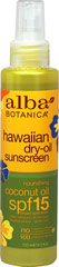 Natural Hawaiian Dry-Oil Sunscreen Coconut Oil SPF 15 <p><strong>From Manufacturer's Label:</strong></p><p>- Nourishing Coconut Oil SPF 15</p><p>- Water Resistant (40 minutes)</p><p>- Paraben Free</p><p>Escape to paradise with this tropically tantalizing and botanically moisturizing dry oil with sunburn protection. 100% Vegetarian Ingredients. No Animal Testing.</p><p>Manufactured by Alba Bontanica/Hain Celestial G