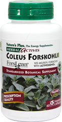 Coleus Forskohlii <p><strong>From the Manufacturer's Label:</strong></p><p>Standardized Botanical Supplement</p><p>Each Herbal Actives Coleus Forskohlii capsule, providing the greatest concentration of active botanical principles, maximizes the synergistic benefits of the who root, which naturally contains the active phytonutrient forskolin.</p><p>Manufactured by Nature's Plus</p><p></p> 60 Vegi Caps 125 mg $21.35