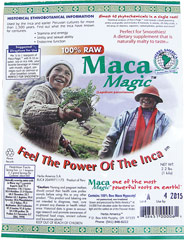 Raw Maca Powder <p><strong>From the Manufacturer's label:</strong></p><p>Maca Magic™ (Lepidium Peruvianum)<br /><br />• Perfect For Smoothies! <br />• A Dietary Supplement That Is Naturally Malty To Taste<br /> <br />• Feel the Power of the Inca! <strong></strong></p> 2.2 lbs Powder
