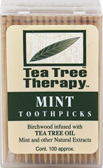 Tea Tree Toothpicks <p><b>From the Manufacturer's Label:</b></p> <p>Tea Tree Therapy Toothpicks are made from birchwood trees treated with Tea Tree Oil and other natural extracts to provide optimal oral hygene.  Tea Tree Oil's natural properties help freshen breath.  </p> <p>Manufactured by Tea Tree Therapy Inc..</p> 100 Pack  $2.99