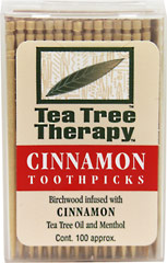 Tea Tree Toothpicks Cinnamon <p><strong>From the Manufacturer's Label:</strong></p><p>Tea Tree Therapy Toothpicks are made from birchwood trees treated with Tea Tree Oil and Menthol.  Cinnamon (oil of cassia) is added to provide a zesty invigorating flavor.  Tea Tree Oil's natural properties help freshen breath.</p><p>Manufactured by Tea Tree Therapy Inc..</p> 100 Pack  $2.39