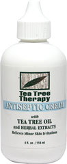 Tea Tree Oil Cream <p><strong>From the Manufacturer's Label:</strong></p><p>Relieves Minor Skin Irritations</p><p>Tea Tree Therapy Cream with its soothing and cooling action relieves minor skin irritations such as rashes, minor cuts, sunburn, scratches and insect bites.</p><p>Manufactured by Tea TreeTherapy Inc..</p> 4 fl oz Cream  $5.99