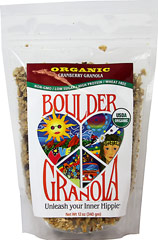 Cranberry Boulder Granola <p><b>From the Manufactuturer's Label:</b></p> <b></b>Unleash Your Inner Hippie!</b></p> <p>From the heart of groovy, granola-crunching Boulder, Colorado comes the most rockin' primo granola ever!</p> <p> Boulder Granola is chock full of protein, fiber, vitamins, minerals, and antioxidants to support active bodies and active lifestyles. </p> <p>Organic, premium, scrumptious granola wit