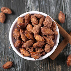 Bavarian Almonds <p>These mouth watering Bavarian Almonds are roasted and glazed in with cinnamon and sugar. You are sure to enjoy this fresh and sweet snack.</p> 8 oz Bag  $8.99