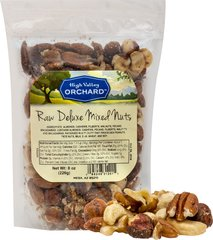 Raw Deluxe Mixed Nuts <p>Raw Deluxe Mixed Nuts make a delicious snack.  A blend of raw cashews, raw almonds, raw pecans, raw filberts, and more! Perfect to take on the go or displayed in a nice serving bowl for entertaining guests. Everyone will be sure to love this blend of mixed nuts.<br /></p> 8 oz Bag  $13.99