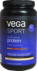 Vega Sport Plant Based Performance Protein Vanilla Vega Sport is the first all-natural, plant-based protein specifically developed to help athletes perform at their best - before, during and after training and competition.  Formulated by Brendan Brazier, professional Ironman triathlete and best-selling author on performance nutrition, Vega Sport products are 100% plant-based, dairy, gluten and soy free and contain  no artificial flavors, colors or sweeteners.  29.2 oz Powder  $49.99