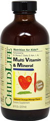 "Multivitamins & Mineral Liquid <p><strong>From the Manufacturer's Label:</strong></p><p>Natural Orange/Mango Flavored Liquid</p><p></p><p>ChildLife multivitamins & Mineral formula provides all of the essential vitamins with minerals and trace elements in a good tasting, easy to use, liquid formula.</p><p>Shake well before use</p><p>Keep refrigerated after opening</p><give child's=""&quo"