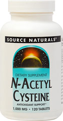 N-Acetyl Cysteine (NAC) 1000 mg <P><B>From the Manufacturer's label</B></P><P>We are proud to bring you N-Acetyl Cysteine 1,000mg from Source Naturals. Look to Puritan's Pride for high-quality national brands and great nutrition at the best possible prices</P>  120 Tablets 1000 mg $21.99