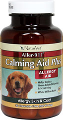 Aller-911 Calming Aid Plus <strong>From the Manufacturer's Label:</strong> <p>Allergy aid helps reduce stress-related chewing and scratching.</p> 30 Chewables  $6.99