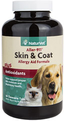 Aller-911 Skin & Coat <B>From the Manufacturer's Label:</B>  <P>Helps support the immune system, proper skin moisture and respiratory health.</P>  60 Chewables  $26.99
