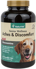Senior Care Aches & Discomfort Tabs <p><strong>From the Manufacturer's Label:</strong></p><p><strong></strong></p><p>Formulated specifically for Senior Dogs with Time Release formula.  Helps alleviate aches and discomfort. Supports joint health and function.</p><ul><li>Made in the USA</li></ul> 60 Chewables  $13.49