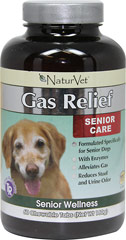 Senior Care Gas Relief <B>From the Manufacturer's Label:</B> <P>Formulated specifically for senior dogs.  Alleviates gas and reduces stool and urine odor.</P>  60 Chewables  $22.99