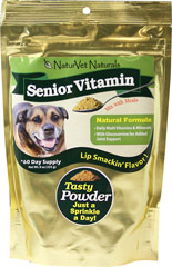Senior Vitamin Powder <B>From the Manufacturer's Label:</B> <P>Senior Vitamin Powder for dogs is a natural formula with daily multivitaminss & minerals.  Contains glucosamine for added joint support.</P> 9 oz Powder  $22.99