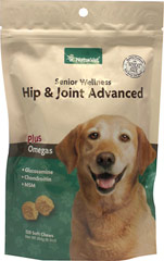 Senior Care Hip & Joint Advanced Formula Soft Chews <p><strong>From the Manufacturer's Label:</strong></p><p>NaturVet Senior Hip & Joint Soft Chews are veterinarian formulated and recommended to support healthy hip and joint function. Our special formula helps to support joints and maintain healthy cartilage and connective tissues.</p><ul><li>Made in the USA</li></ul> 120 Soft Chews  $17.99