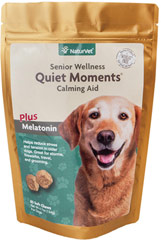 Senior Care Quiet Moments Calming Aid Soft Chew <p><strong>From the Manufacturer's Label:</strong></p><p>Formulated specifically for senior dogs.  Helps reduce stress and tension.  Use for fireworks, travel, grooming and thunderstorms.</p><ul><li>Made in the USA</li></ul> 65 Soft Chews  $6.99