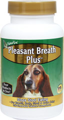 Pleasant Breath Plus <strong>From the Manufacturer's Label:</strong> <p>Pleasant Breath Plus is for use in dogs only.  Recommended to reduce stool and urine odor.  Will help to alleviate occasional gas and deter dog from consuming its own stools. Reduces bad breath and body odor.</p> 150 Chewables  $24.99