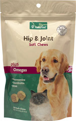 Hip & Joint Soft Chews <strong>From the Manufacturer's Label:</strong> <p>Naturvet Naturals Hip & Joint soft chews for Dogs & Cats contain Glucosamine, Chondroitin and MSM.  Tasty soft chews with lip smackin' flavor!</p> 120 Chews  $19.99