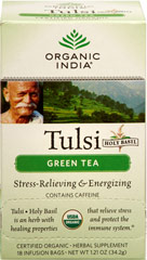 Organic Tulsi Holy Basil Green Tea <p><strong>From the Manufacturer's Label:</strong></p><p>A harmonious blend of Tulsi and the finest Green Tea, simply accented with an aromatic lemon flavor lift from Tulsi.</p><p>Tulsi (also known as Holy Basil) makes a delicious and refreshing tea that possesses wonderful benefits.</p> 18 Tea Bags  $8.99