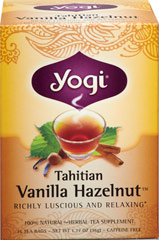 Tahitian Vanilla Hazelnut™ Tea <p><strong>From the Manufacturer's Label:</strong></p><p>Close your eyes and inhale a smooth tropical breeze that carries the rich scent of natural vanilla.  That's the sensation captured in this Tahitian Vanilla Hazelnut. This tea combines the fragrance of natural Vanilla with the taste of roasted Hazelnut.  We add depth and delight with a touch of velvety Carob.  The traditional Ayurvedic spice blend of Cinnamon, Cardamom, Gi