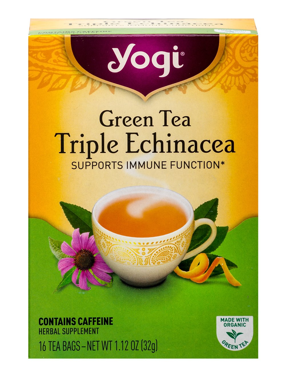 Green Tea Triple Echinacea <p><strong>From the Manufacturer's Label:</strong></p><p>Green Tea Triple Echinacea with Elderberry has added Elderberry. Lemongrass and Spearmint add a light, refreshing flavor.  Enjoy a cup of Green Tea Triple Echinacea to support your well-being.<br /></p> 16 Tea Bags  $7.49