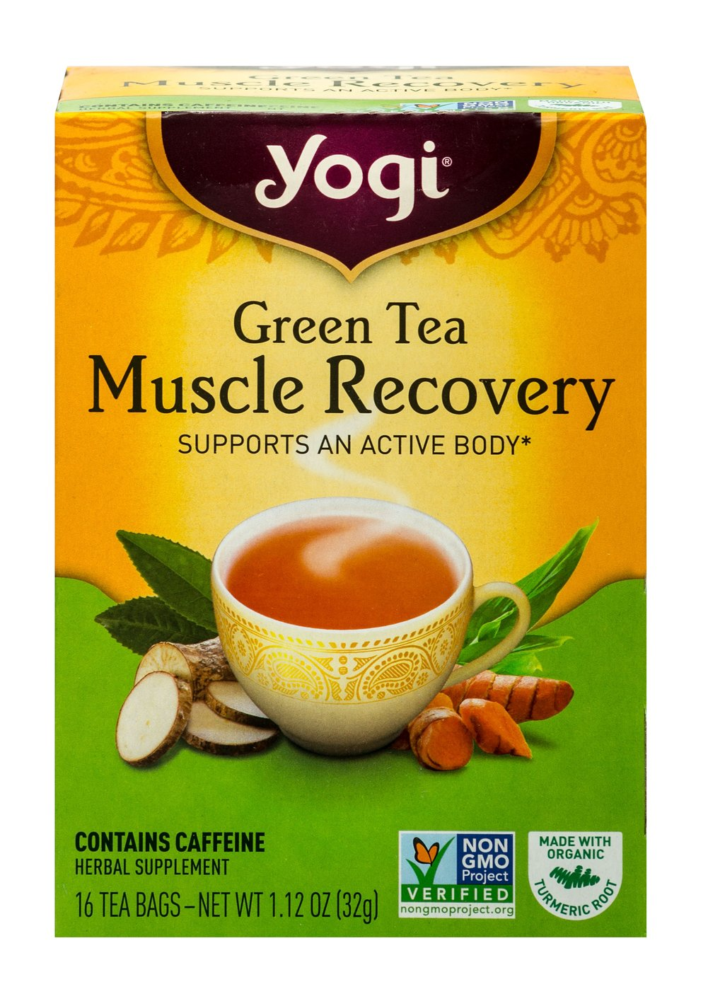 Green Tea Muscle Recovery <p><strong>From the Manufacturer's Label:</strong></p><p>Stay active with a cup of Green Tea Muscle Recovery.  Our satisfying blend starts with gently stimulating and antioxidant-rich Green Tea and combines it with traditional soothing herbs such as Organic Turmeric Root. So get invigorated, be energized, and stay active with Green Tea Muscle Recovery!</p> 16 Tea Bags  $6.74
