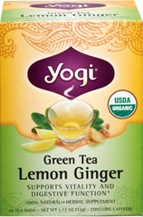 Organic Green Tea Lemon Ginger <p><strong>From the Manufacturer's Label:</strong></p><p>Breathe in the invigorating aroma of our Green Tea Lemon Ginger. This lively, all organic tea provides a refreshing pick-me-up with bright citrus notes from Lemon Peel and Lemongrass. Ginger and Peppermint add intrigue along with warming qualities.<strong></strong></p> 16 Tea Bags  $8.99
