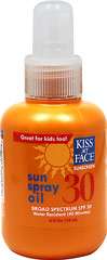 Sun Spray Oil SPF 30   <p><b>From the Manufacturer's Label:</b></p>  <p>- UVA/UVB Protection</p> <p>- Water Resistant</p> <p>- Great for kids too!</p> <p>- Paraben Free</p>  <p>Easy to apply, so spray liberally and sun conservatively.</p>  <p>Manufacture by Kiss My Face®.</p>   4 fl oz Oil  $8.99