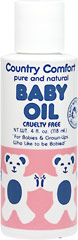 Baby Oil <p><strong>From the Manufacturer:</strong></p><p>Use our gentle oil to moisturize and cleanse delicate skin.  Apply with cotton swab to prevent chafing, dryness, cradle cap and to safely clean baby's outer ears, nose and naval.</p> 4 oz Oil  $5.49