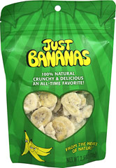 Just Bananas <p><b>From the manufacturer: </p></b> <p>Bananas with a crunch; Use as a snack, add to cereal, icecream or salad. Crunch and munch the whole bag for a guilt free snack! </p> <p>• Always Kosher. GMO Free. </p> <p>• Never any additives, preservatives or sweeteners. </p> <p>• Always naturally gluten, dairy, wheat and nut free! </p> 2.05 oz Bag  $8.99