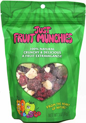 Just Fruit Munchies <p><b>From the manufacturer: </p></b> <p>Deliciously sweet, intense flavors. This snack is a combination of apples, grapes, sour cherries, blueberries, mango, pineapple and raspberries. </p> <p>Great just as a snack, but don't miss adding them to your favorite recipes. </p> <p>• Always Kosher. GMO Free. </p> <p>• Never any additives, preservatives or sweeteners. </p> <p>• Always naturally gluten