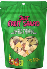 Just Fruit Salad <p><strong>From the Manufacturer:</strong></p><p>This truly delicious mix of pears, apples, peaches, bananas, strawberries, and red grapes is like a fruit salad in your hands! Enjoy the uniquely crunchy treats right from the bag or mixed into plain yogurt. Add them to muffins, pies, cookies, pancakes, and cobblers. Intensity your fresh fruit or salads. The possibilities are endless!<strong><br /></strong></p> 2 oz Bag  $8.39
