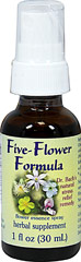 Five-Flower Formula Spray <strong></strong><p><strong>From the manufacturer's label:</strong></p><p>The formula of five different flower essences — Clematis, Cherry Plum, Impatiens, Rock Rose, and Star of Bethlehem; Used as a baseline remedy for all healing. </p> 1 oz Liquid