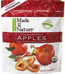 100% Certified Organic Dried Apples <strong></strong><p><strong>From the Manufacturer's Label: </strong></p>Made in Nature's Organic Orchard Apples offer a burst of sweetness in every soft slice. Only the finest apples with most unique varietal characteristics go into our sensational seasonal blend. Discover your new obsession with these amazingly delicious dried apples.<br /> 3 oz Bag  $7.49